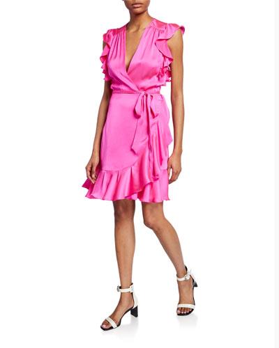 Sleeveless Ruffle Wrap Dress