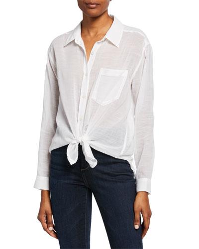 Button-Down Knot-Front Long-Sleeve Cotton/Linen Shirt