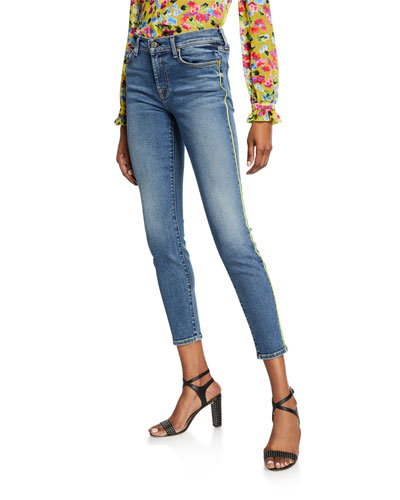 Ankle Skinny Jeans with Neon Piping