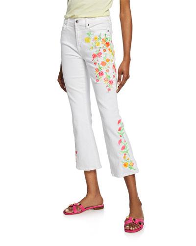High-Waist Slim Kick Jeans with Embroidery