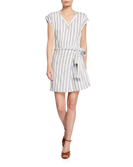 Club Monaco Ashantii Striped V-Neck Short-Sleeve Wrap Dress