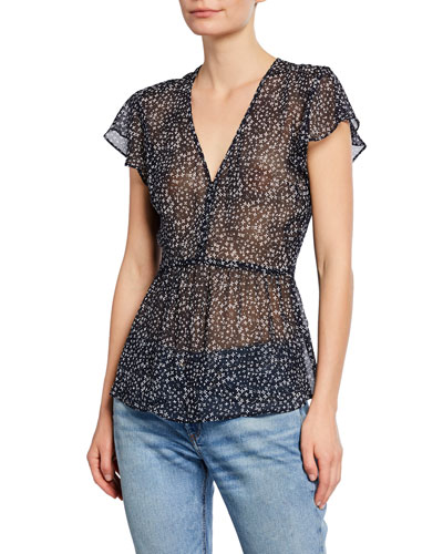 Perdeta Ditsy Floral Silk Top