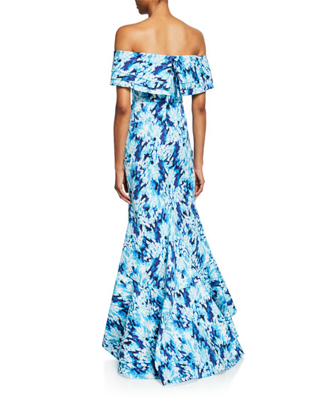 Badgley Mischka Collection Printed Off-the-Shoulder Tiered Ruffle Mermaid Gown