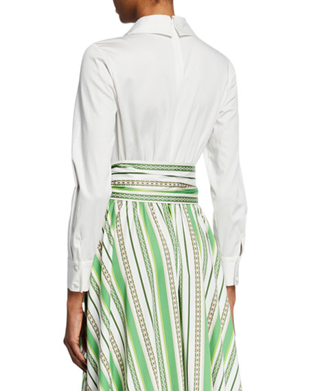 Badgley Mischka Collection Long-Sleeve Shirt Top & Striped Skirt Gown
