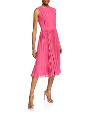 338ce7c67d0 Badgley Mischka Collection Crewneck Sleeveless Pleated Cocktail Dress