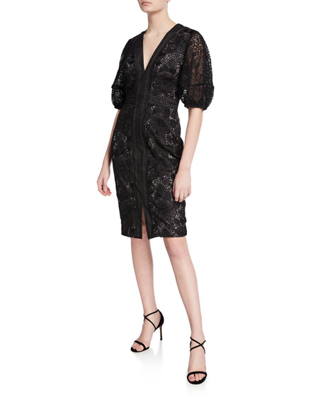 Badgley Mischka Collection V-Neck Blouson-Sleeve Lace Sheath Dress