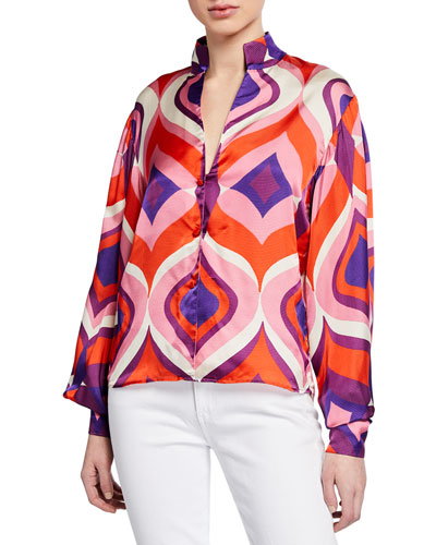 Roselle Geometric Bishop-Sleeve Button-Front Top w/ Mandarin Collar