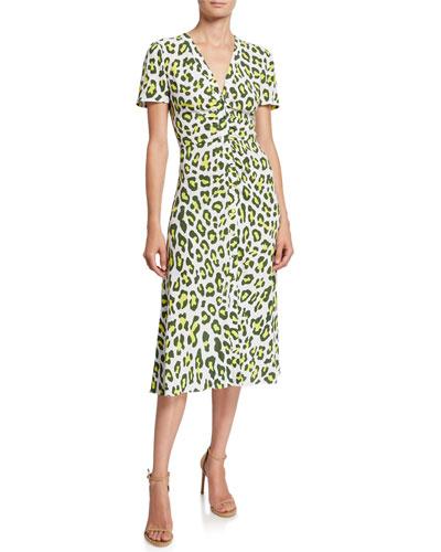 Cecilia Leopard-Print Button-Front Midi Dress