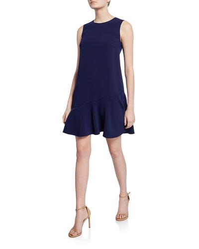 Alyson Sleeveless Mini Asymmetric Flounce Dress