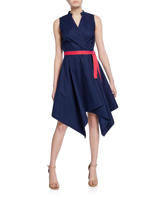 b272fbab3 Diane von Furstenberg Marlene Sleeveless Poplin Wrap Dress | Neiman ...