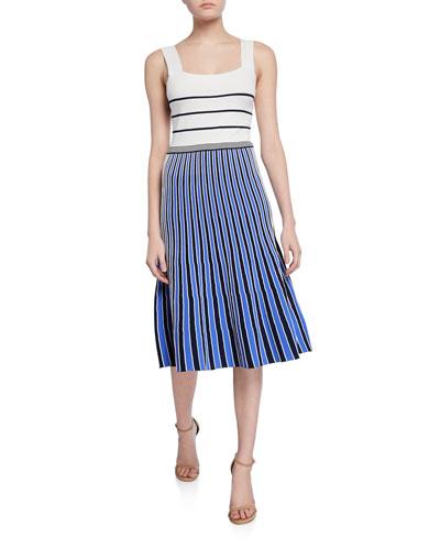 Yasmin Striped Colorblock Sleeveless Knit Dress