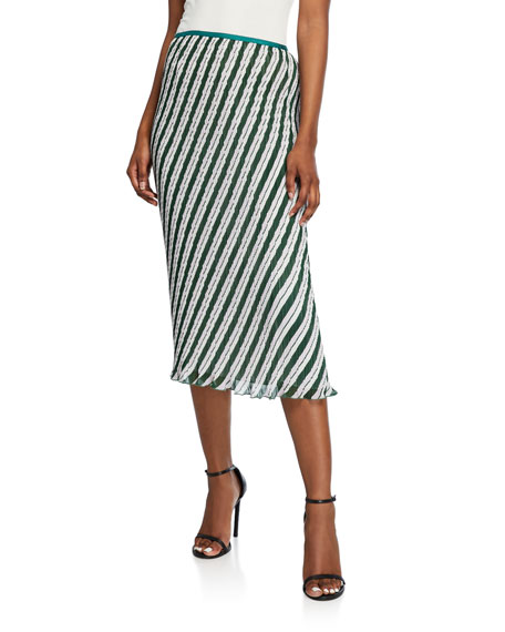 Diane von Furstenberg Gwyneth Pleated Stripe Midi Skirt