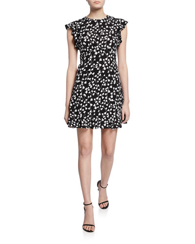 Krona Printed Mini Ruffle Dress