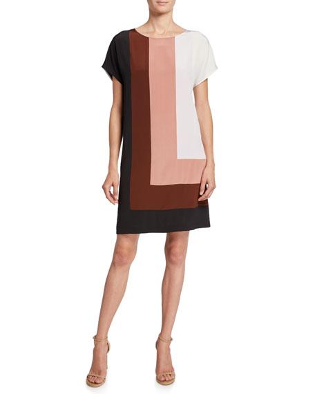 Diane von Furstenberg Danika Colorblock Silk Shift Dress