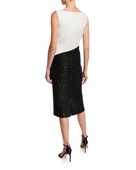 St. John Collection Colorblock Sleeveless Tuxedo Bodice Dress w/ Sequin Rib Knit Skirt