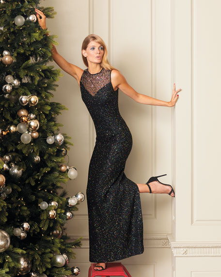 St. John Collection Confetti Sequin Sweetheart-Illusion Sleeveless Column Gown