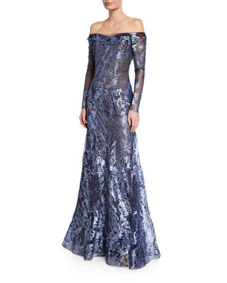 Rene Ruiz Metallic Lace Off-the-Shoulder Long-Sleeve A-Line Gown