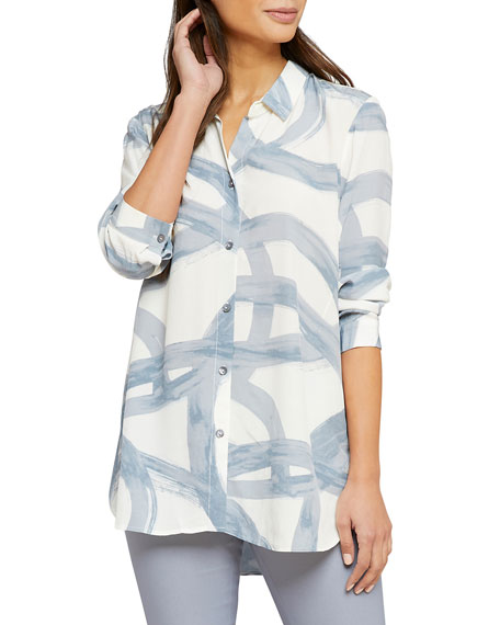Nic+zoe T-shirts ROUND ABOUT LONG-SLEEVE BUTTON-FRONT SHIRT