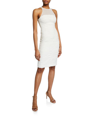 2cdd2140b3e Halston Heritage High-Neck Sleeveless Ruched Cocktail Dress