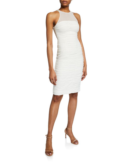 Halston Heritage Dresses HIGH-NECK SLEEVELESS RUCHED COCKTAIL DRESS