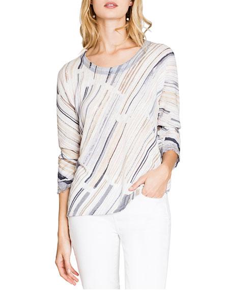 Nic+zoe Sweaters WATER STROKE 3/4-SLEEVE FRAYED SWEATER
