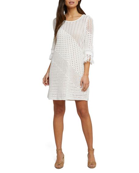 Nic+zoe Dresses BEACH STROLL 3/4-SLEEVE OPEN-STITCH DRESS