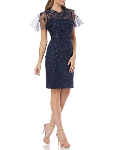 Flutter-Sleeve 3D Novelty Lace Cocktail Dress