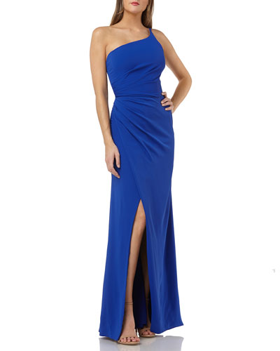 One-Shoulder Crepe Gown with Slit