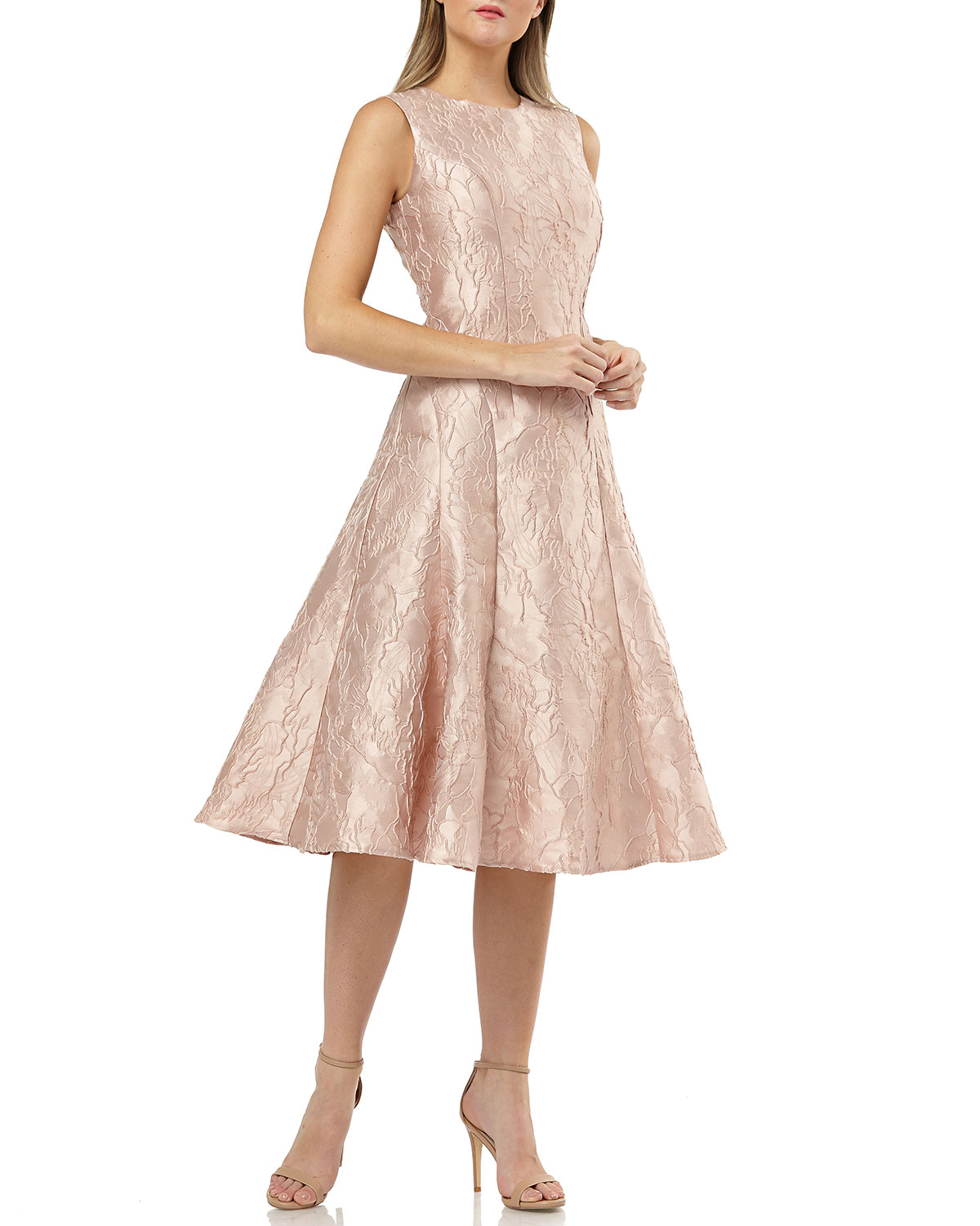 Carmen Marc Valvo Infusion Rose Pink Sleeveless Fit-&-Flare Brocade Cocktail Dress