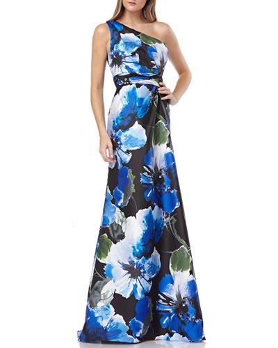 Floral-Printed One-Shoulder Mikado Gown