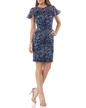 0bd9a7eeb30 Carmen Marc Valvo Infusion Embroidered Ruffle-Sleeve Cocktail Dress