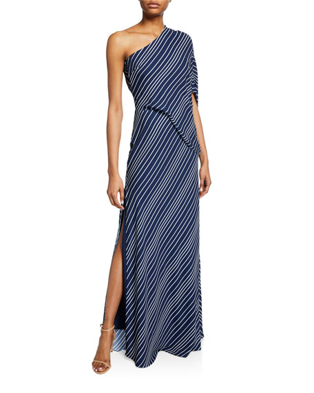 Halston Heritage Tops STRIPED ONE-SHOULDER ASYMMETRIC-SLEEVE GOWN