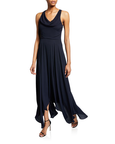 Sleeveless Cowl-Neck Back-Knot Handkerchief Gown