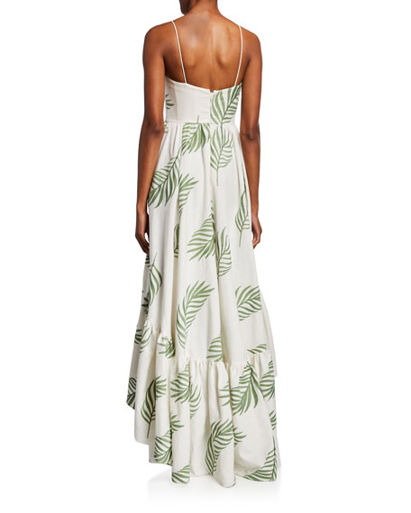 Mestiza New York Cleo Palm Leaf Embroidered High-Low Sleeveless Gown