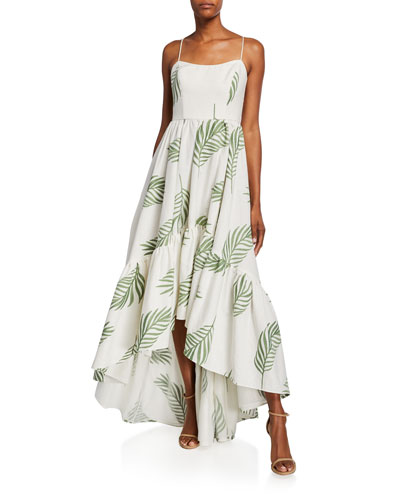 Cleo Palm Leaf Embroidered High-Low Sleeveless Gown