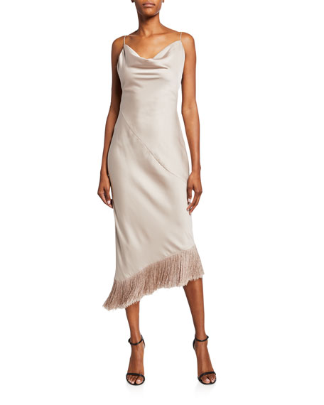 Mestiza New York Clara Cowl-Neck Backless Fringe Hem Midi Dress