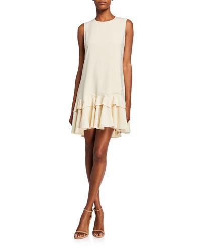 Lauren Sleeveless Godet Mini Ruffle Dress