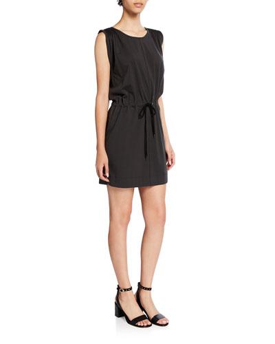 The Knit Angeline Sleeveless Drawstring-Waist Mini Dress