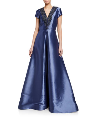 10b5fab578f Theia Beaded-Trim V-Neck Cap-Sleeve Faille Gown w  Inverted Pleat