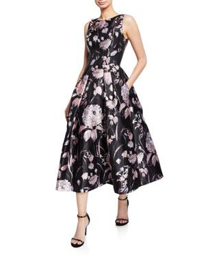 c9f7cd61e5a Theia Floral-Print High-Neck Sleeveless Midi Dress w  Pleated Skirt