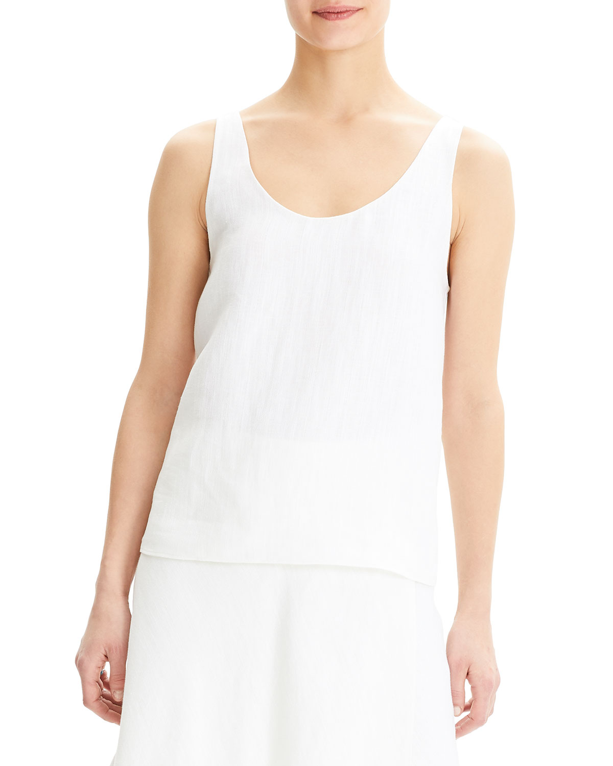 90489301e76793 Theory Scoop-Neck Herring Linen Tank Top