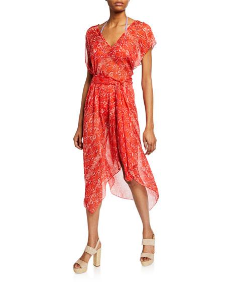 Diane von Furstenberg Serena Snake-Print Handkerchief Coverup Dress