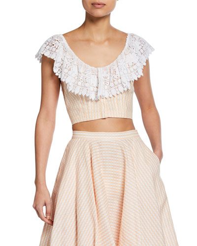 Effie Linen Cropped Blouse with Lace