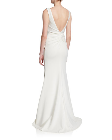 Jovani V-Neck Knotted Sleeveless Mermaid Gown with Front Slit