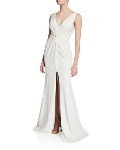 V-Neck Knotted Sleeveless Mermaid Gown with Front Slit