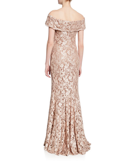 Jovani Off-the-Shoulder Short-Sleeve Lace Gown