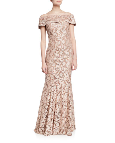 Off-the-Shoulder Short-Sleeve Lace Gown