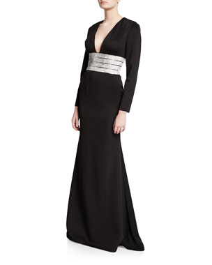 faa3da0cfd94 Jovani V-Neck Long-Sleeve Gown with Beaded Belt