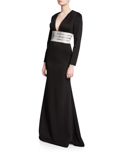 V-Neck Long-Sleeve Gown with Beaded Belt