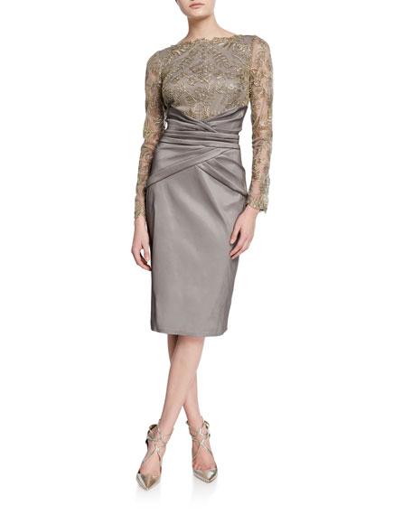 Tadashi Shoji Long-Sleeve Taffeta Cocktail Dress w/ Pleated Waist & Corded Lace